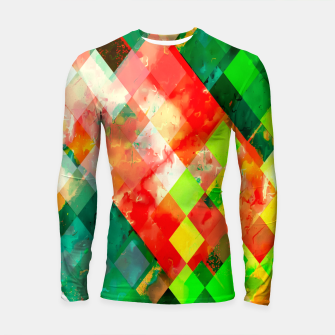 geometric square pixel pattern abstract background in green red yellow Longsleeve rashguard  thumbnail image