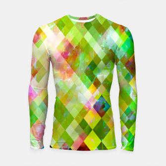 geometric square pixel pattern abstract background in green pink yellow blue Longsleeve rashguard  thumbnail image
