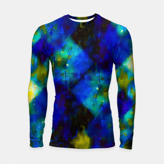 geometric square pixel pattern abstract background in blue yellow green Longsleeve rashguard  thumbnail image