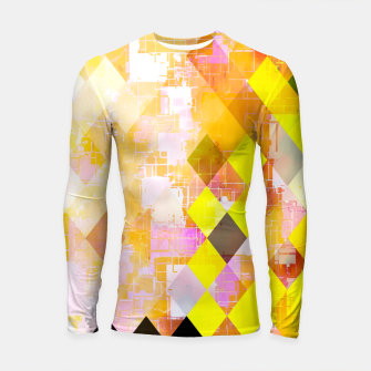 geometric square pixel pattern abstract background in yellow green pink orange Longsleeve rashguard  thumbnail image