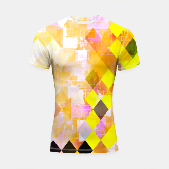 Imagen en miniatura de geometric square pixel pattern abstract background in yellow green pink orange Shortsleeve rashguard, Live Heroes