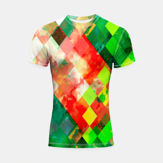 Imagen en miniatura de geometric square pixel pattern abstract background in green red yellow Shortsleeve rashguard, Live Heroes