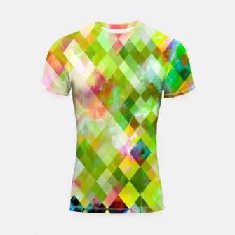 Imagen en miniatura de geometric square pixel pattern abstract background in green pink yellow blue Shortsleeve rashguard, Live Heroes