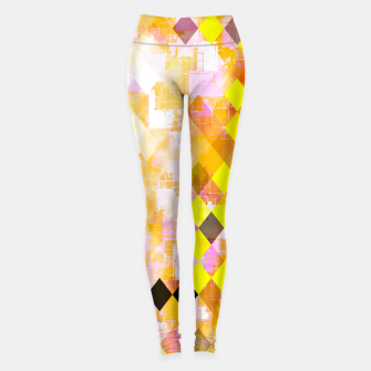 geometric square pixel pattern abstract background in yellow green pink orange Leggings thumbnail image