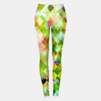geometric square pixel pattern abstract background in green pink yellow blue Leggings thumbnail image