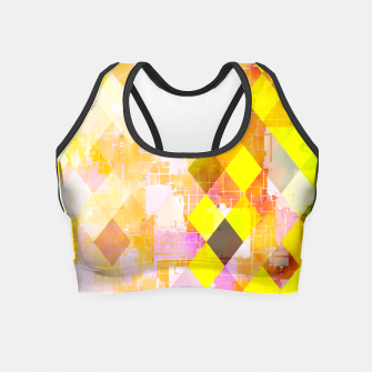 Miniaturka geometric square pixel pattern abstract background in yellow green pink orange Crop Top, Live Heroes