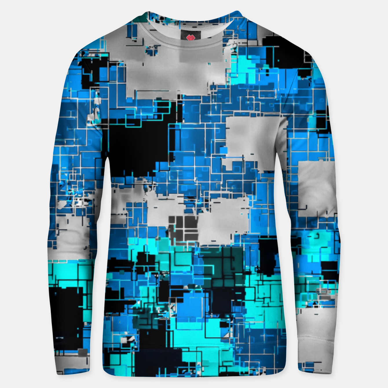 Image of geometric square pixel pattern abstract background in blue Unisex sweater - Live Heroes