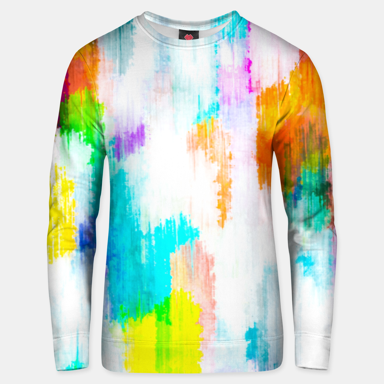 Image of colorful splash painting texture abstract background in yellow blue pink orange Unisex sweater - Live Heroes