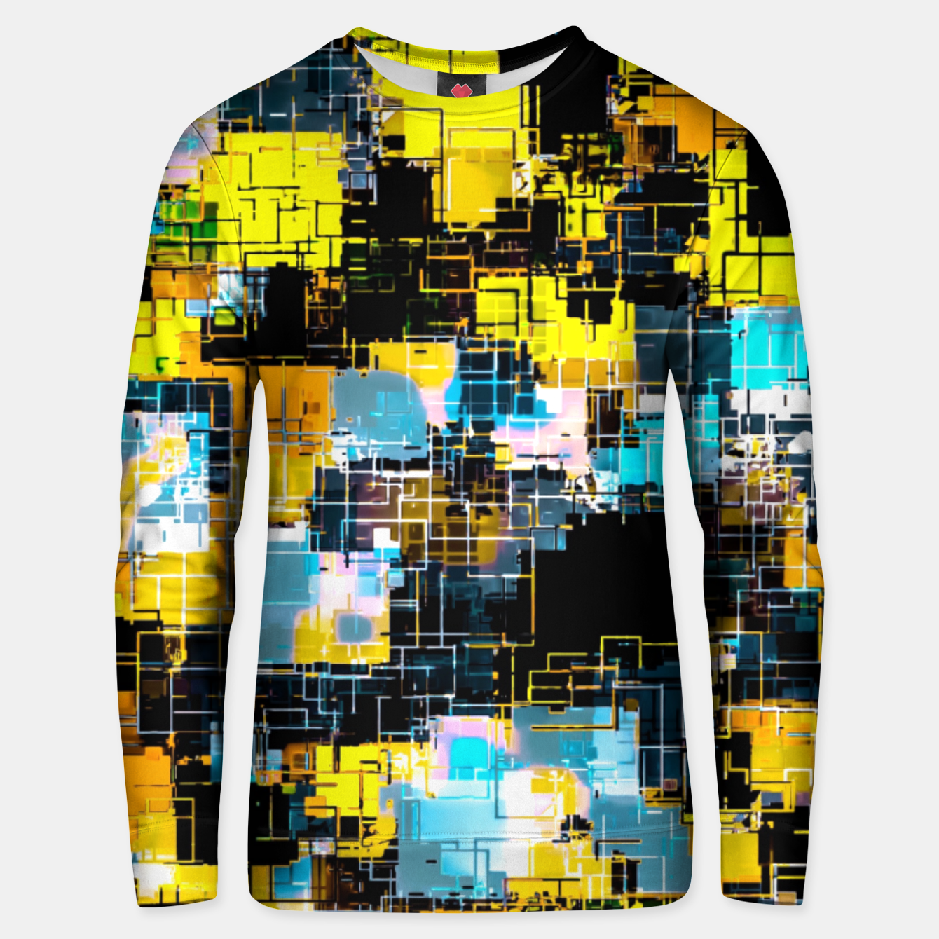 Image of geometric square pixel pattern abstract background in orange yellow blue Unisex sweater - Live Heroes