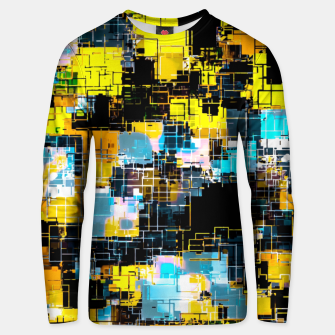 geometric square pixel pattern abstract background in orange yellow blue Unisex sweater thumbnail image