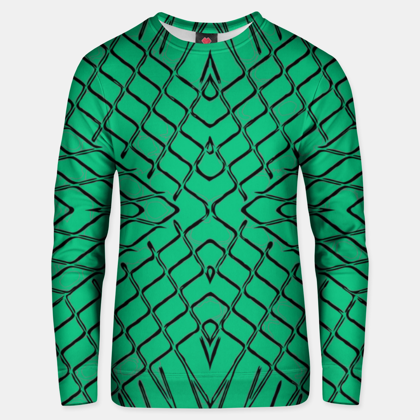 Image of geometric symmetry line pattern abstract in green Unisex sweater - Live Heroes