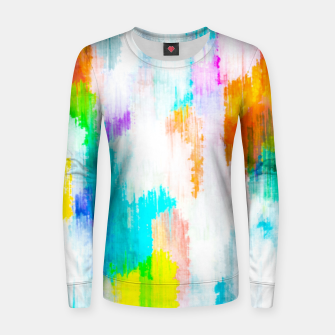 colorful splash painting texture abstract background in yellow blue pink orange Women sweater thumbnail image