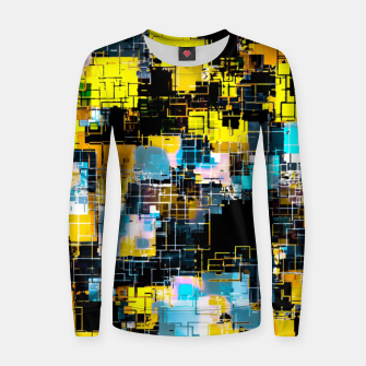 geometric square pixel pattern abstract background in orange yellow blue Women sweater thumbnail image