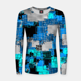 Miniaturka geometric square pixel pattern abstract background in blue Women sweater, Live Heroes