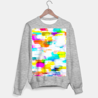 colorful splash painting texture abstract background in yellow blue pink orange Sweater regular thumbnail image