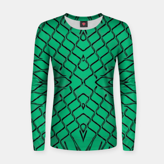 Miniaturka geometric symmetry line pattern abstract in green Women sweater, Live Heroes