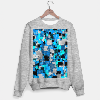 geometric square pixel pattern abstract background in blue Sweater regular thumbnail image