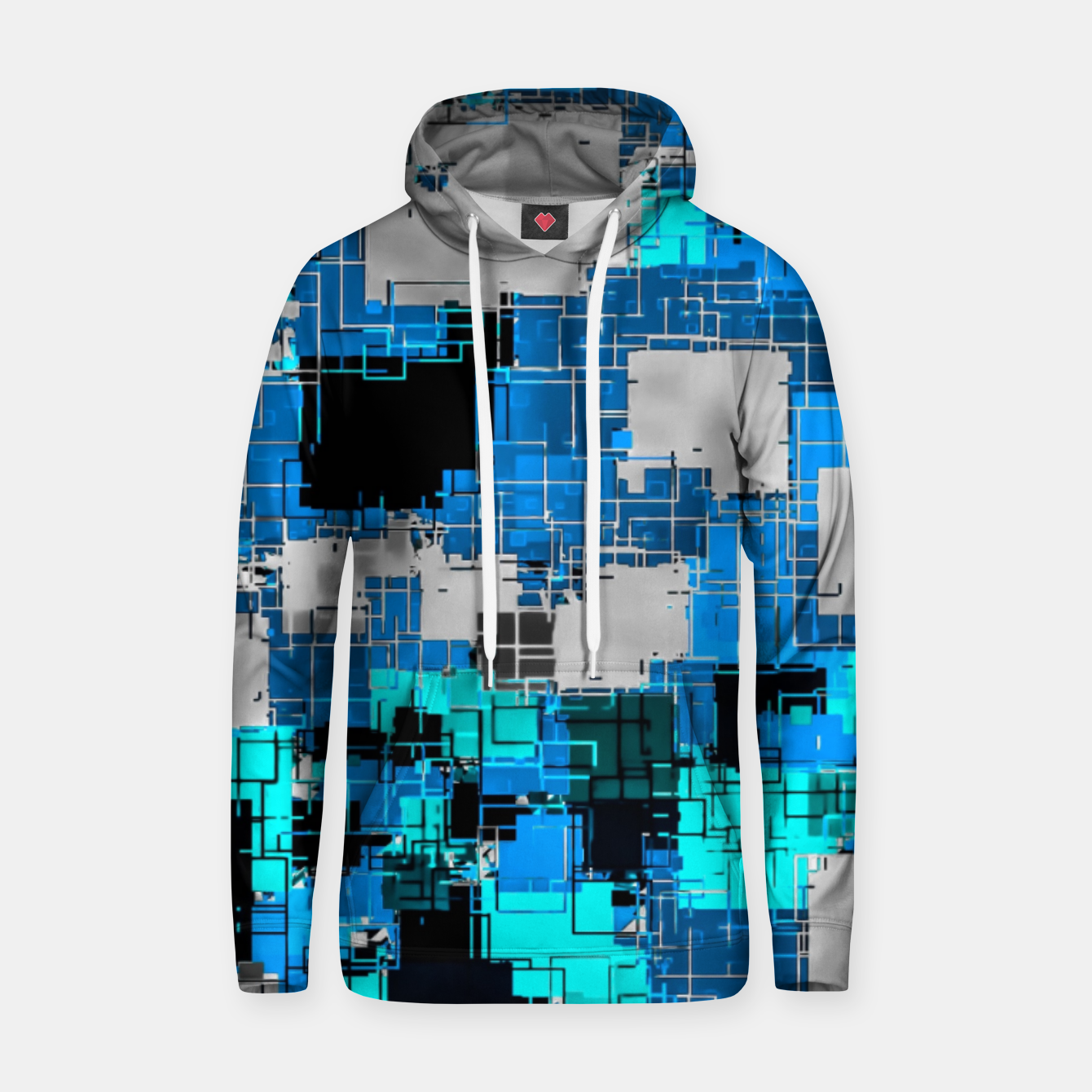 Image of geometric square pixel pattern abstract background in blue Hoodie - Live Heroes