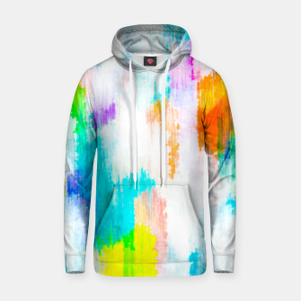 colorful splash painting texture abstract background in yellow blue pink orange Hoodie thumbnail image