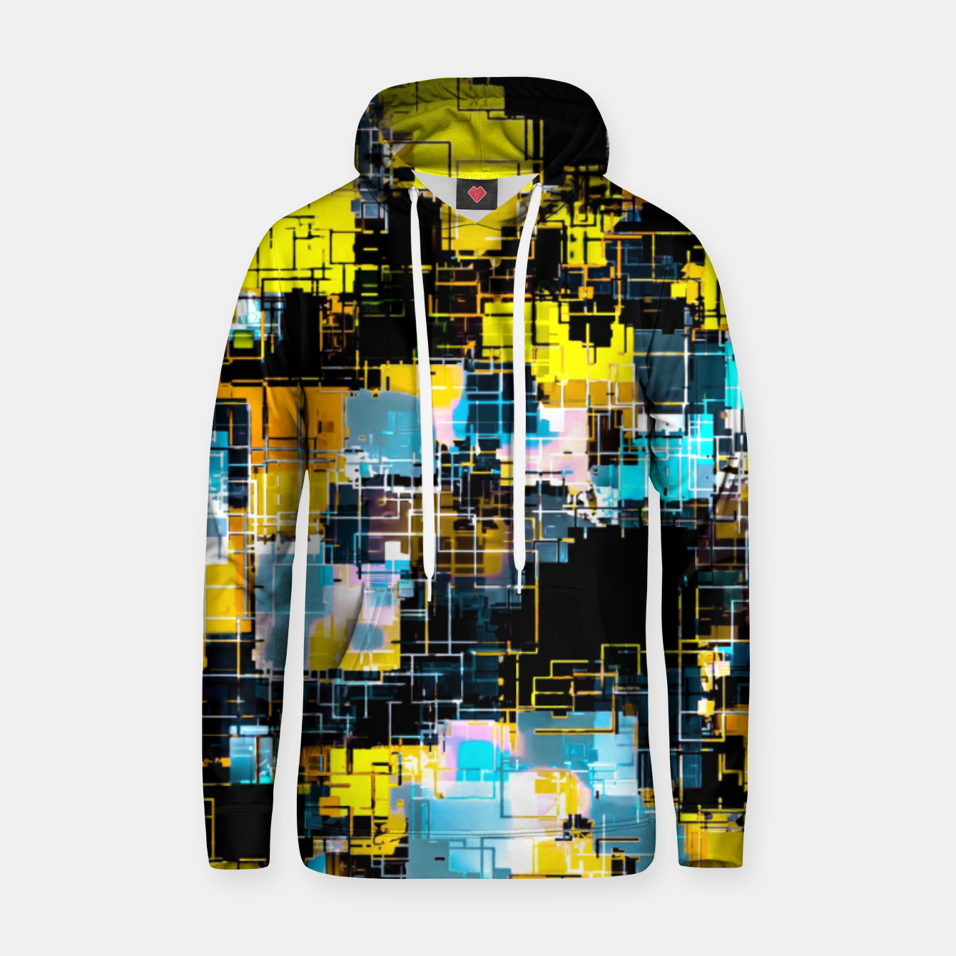 Image of geometric square pixel pattern abstract background in orange yellow blue Hoodie - Live Heroes