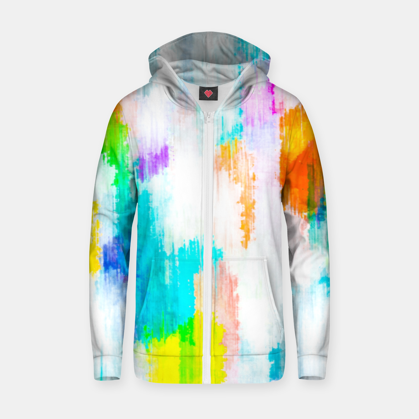 Image of colorful splash painting texture abstract background in yellow blue pink orange Zip up hoodie - Live Heroes