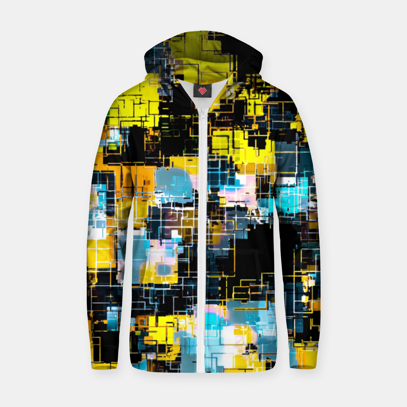 Image of geometric square pixel pattern abstract background in orange yellow blue Zip up hoodie - Live Heroes