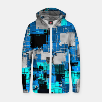Thumbnail image of geometric square pixel pattern abstract background in blue Zip up hoodie, Live Heroes