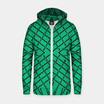 Thumbnail image of geometric symmetry line pattern abstract in green Zip up hoodie, Live Heroes