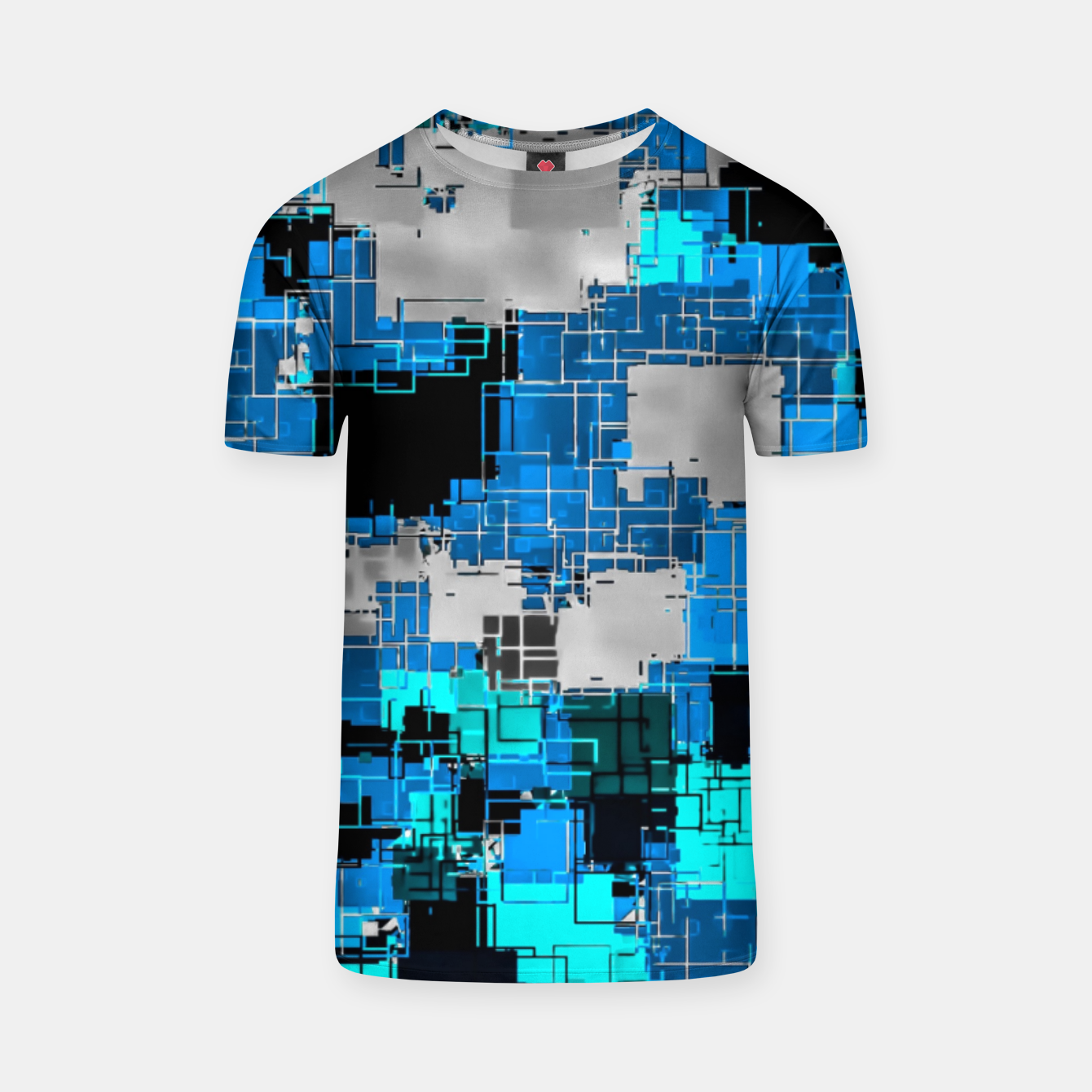 Image of geometric square pixel pattern abstract background in blue T-shirt - Live Heroes
