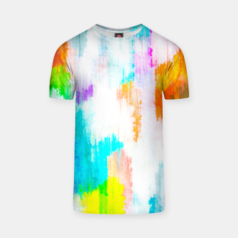 colorful splash painting texture abstract background in yellow blue pink orange T-shirt thumbnail image