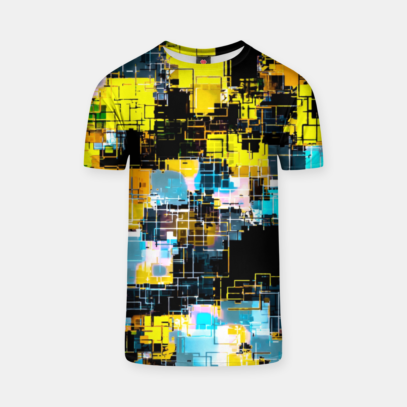 Image of geometric square pixel pattern abstract background in orange yellow blue T-shirt - Live Heroes