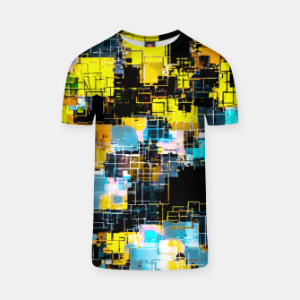 geometric square pixel pattern abstract background in orange yellow blue T-shirt thumbnail image