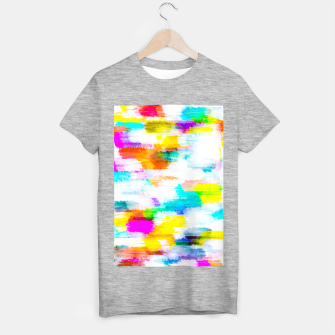 colorful splash painting texture abstract background in yellow blue pink orange T-shirt regular thumbnail image