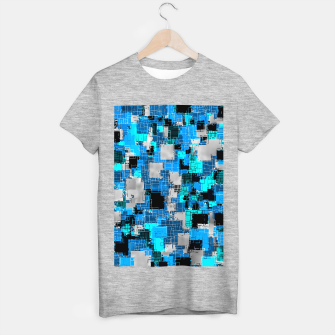 geometric square pixel pattern abstract background in blue T-shirt regular thumbnail image