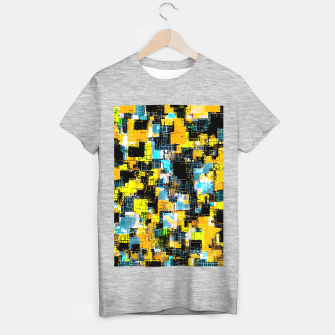 geometric square pixel pattern abstract background in orange yellow blue T-shirt regular thumbnail image