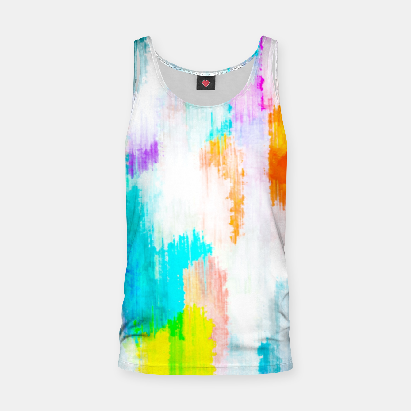 Image of colorful splash painting texture abstract background in yellow blue pink orange Tank Top - Live Heroes