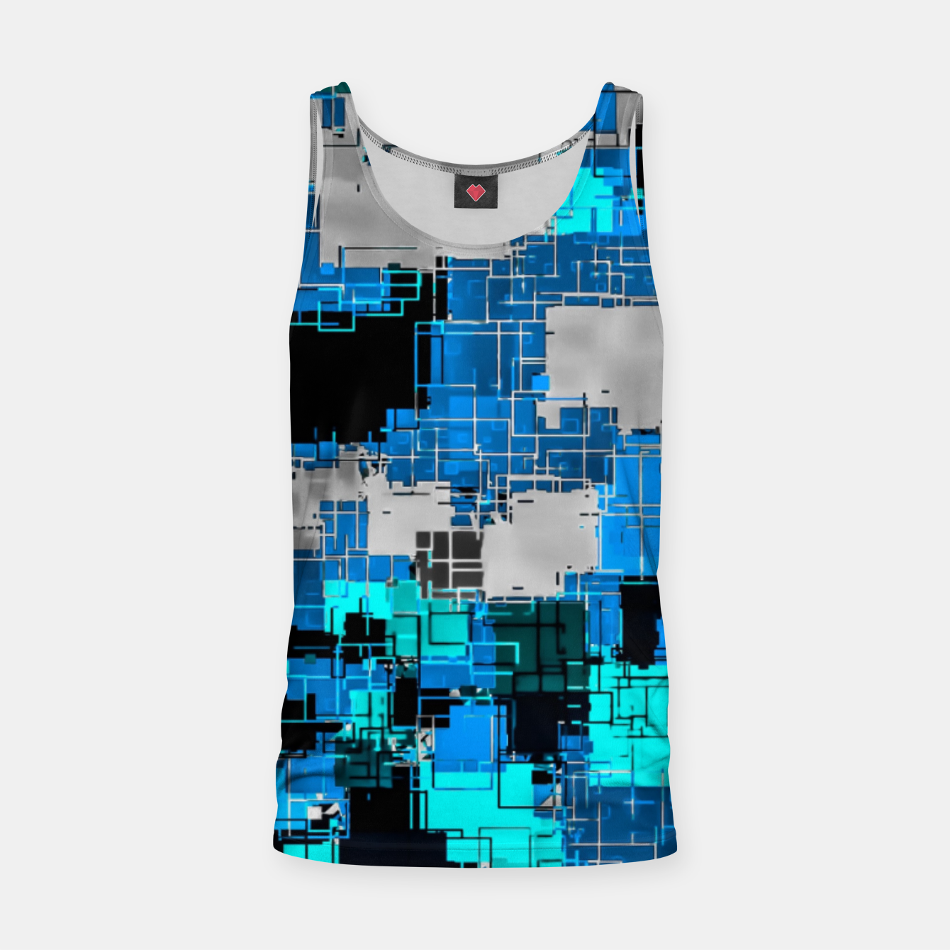 Image of geometric square pixel pattern abstract background in blue Tank Top - Live Heroes