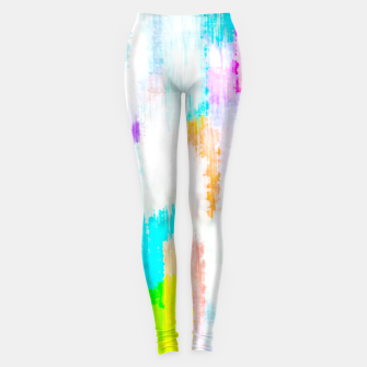 colorful splash painting texture abstract background in yellow blue pink orange Leggings thumbnail image