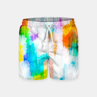 colorful splash painting texture abstract background in yellow blue pink orange Swim Shorts thumbnail image