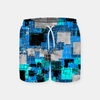 geometric square pixel pattern abstract background in blue Swim Shorts thumbnail image