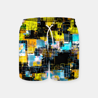 geometric square pixel pattern abstract background in orange yellow blue Swim Shorts thumbnail image