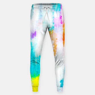 Thumbnail image of colorful splash painting texture abstract background in yellow blue pink orange Sweatpants, Live Heroes