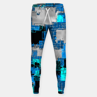 geometric square pixel pattern abstract background in blue Sweatpants thumbnail image