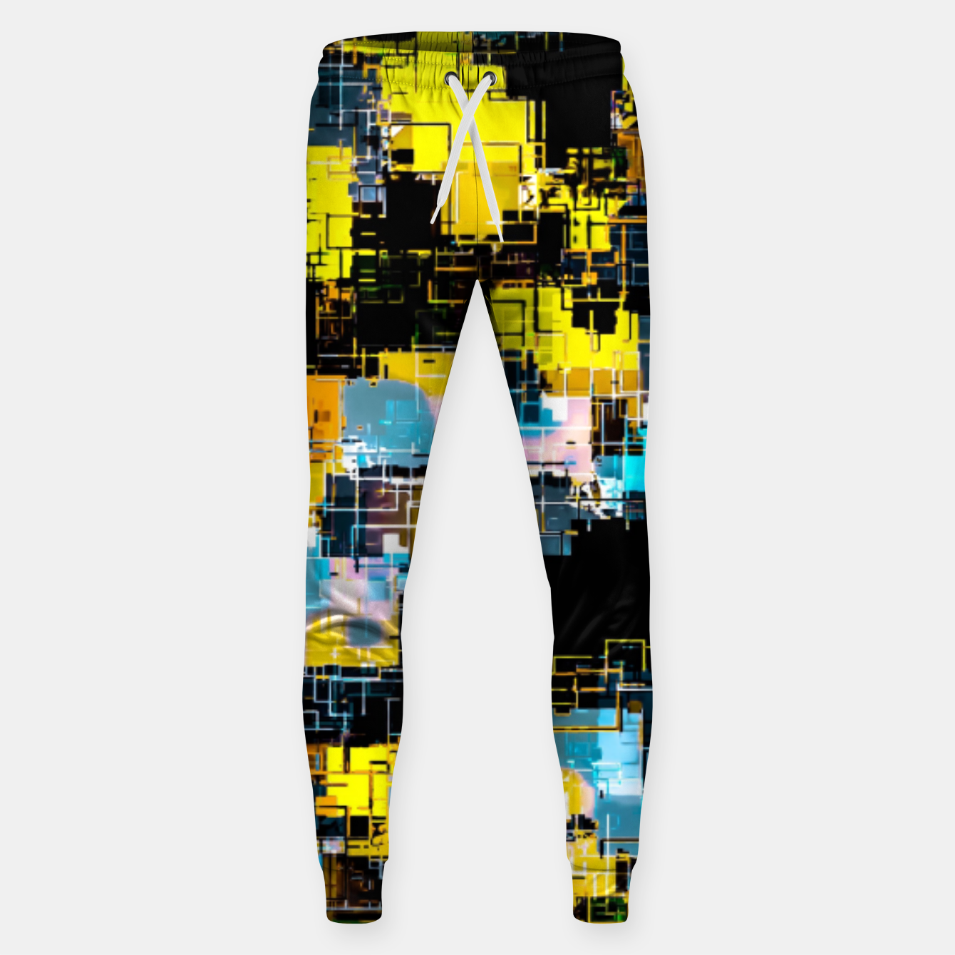 Image of geometric square pixel pattern abstract background in orange yellow blue Sweatpants - Live Heroes