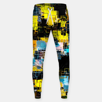 geometric square pixel pattern abstract background in orange yellow blue Sweatpants thumbnail image