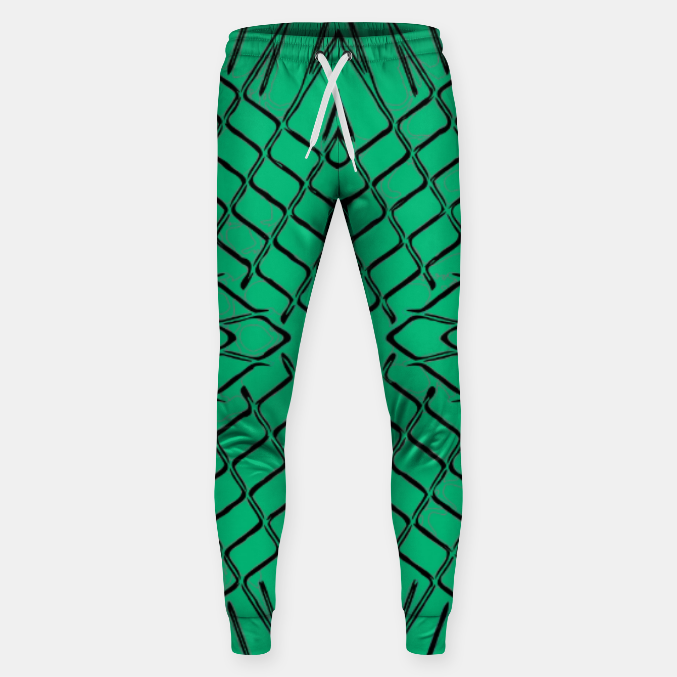 Image of geometric symmetry line pattern abstract in green Sweatpants - Live Heroes