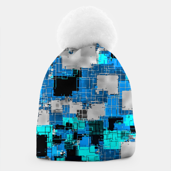 geometric square pixel pattern abstract background in blue Beanie thumbnail image