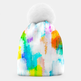Thumbnail image of colorful splash painting texture abstract background in yellow blue pink orange Beanie, Live Heroes
