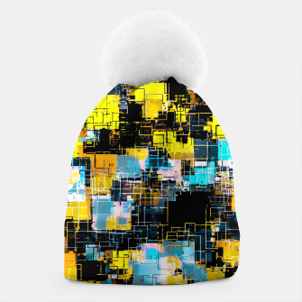geometric square pixel pattern abstract background in orange yellow blue Beanie thumbnail image