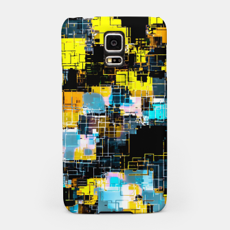 geometric square pixel pattern abstract background in orange yellow blue Samsung Case thumbnail image